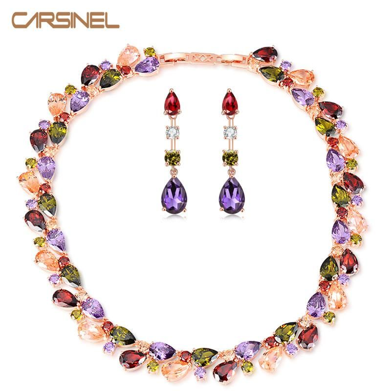 CARSINEL Brand AAA Cubic Zirconia MultiColor Jewelry Set Rose Gold