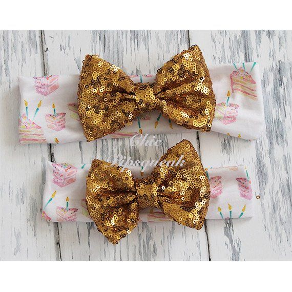 Sequin Bow Headband, Gold Sequin Bow on Birthday Cake