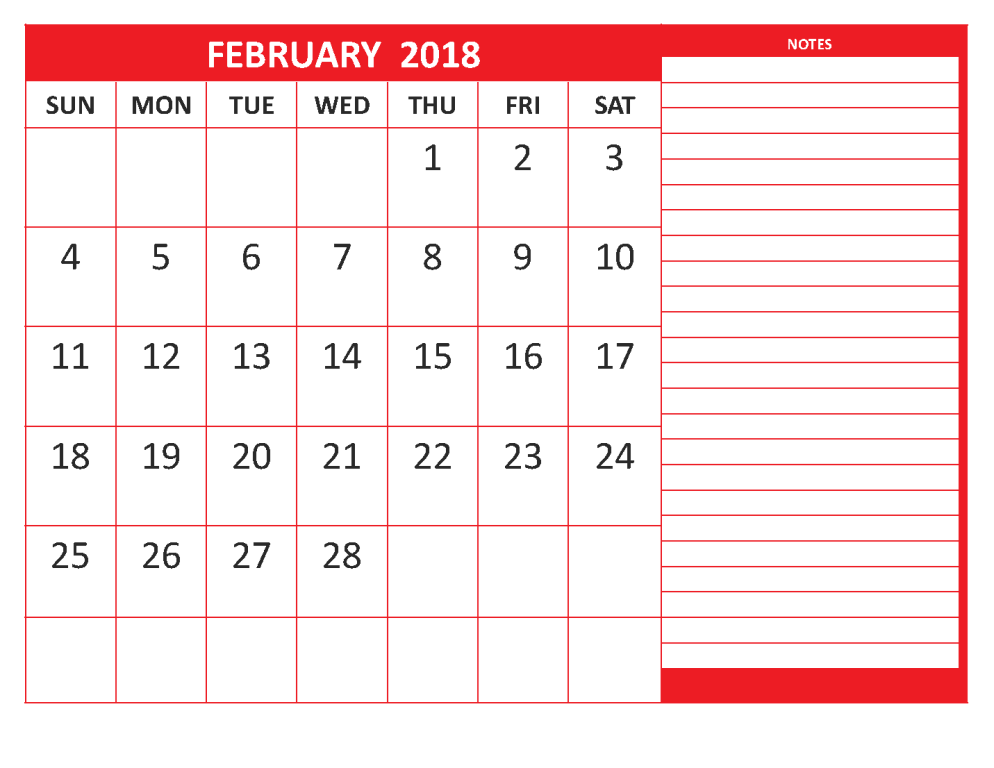 February Calendar Template  Maxcalendars