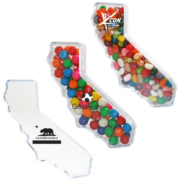 California Shape Plastic Jar Container with Hard Candy