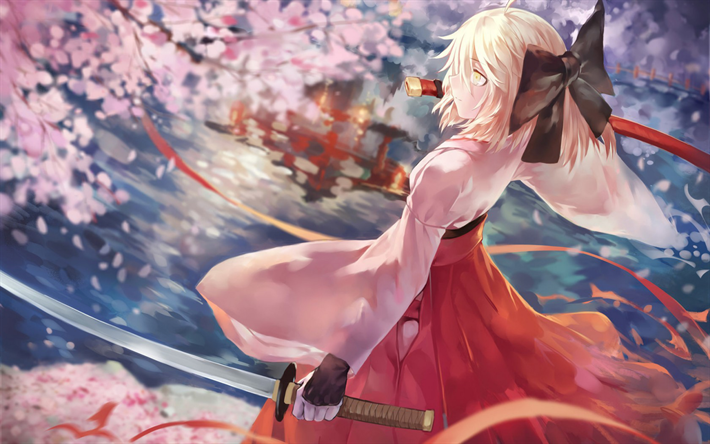 Download Wallpapers Sakura Saber 4k Cherry Blossom Saber Katana Fate Grand Order Okita Souji Type Moon Anime Manhwa Katana