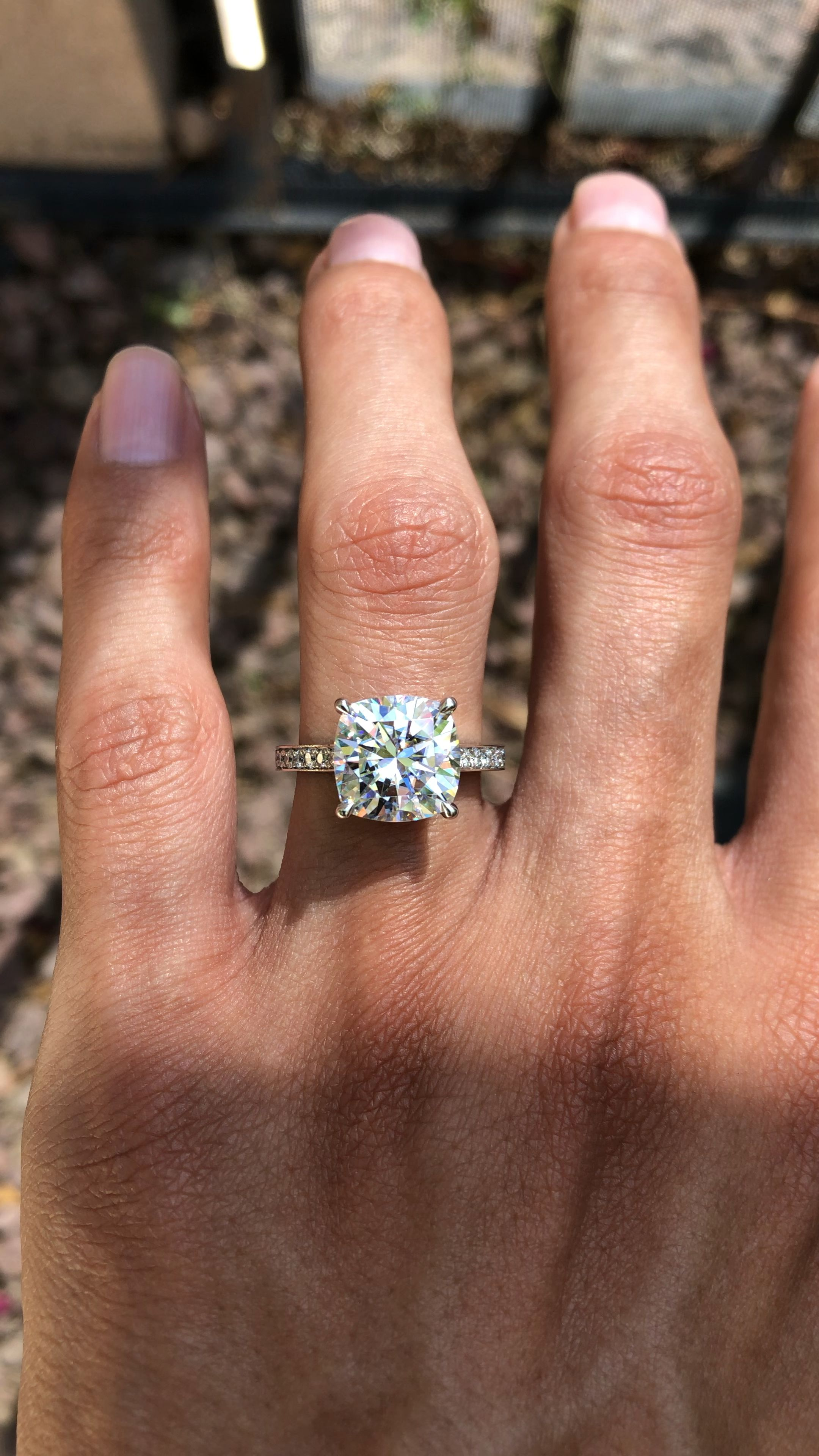 5 Carat Cushion Moissanite & Diamond Engagement Rings