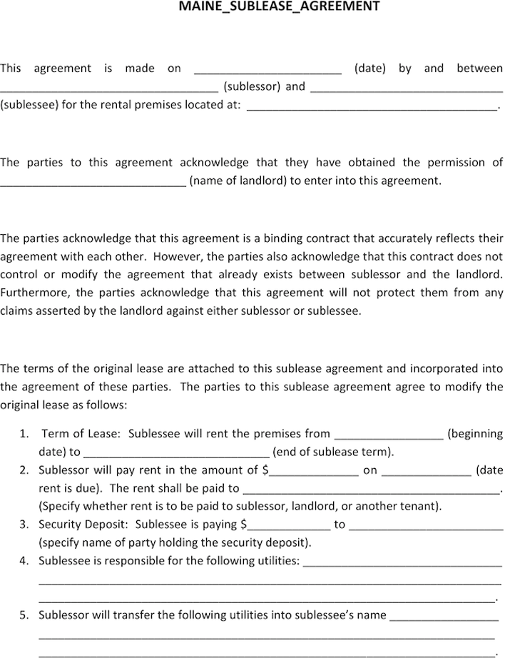 Maine Sublease Agreement Template Download Free Printable Legal Rent And Lease Template Form In Different Editable Formats Templates Agreement Being A Landlord