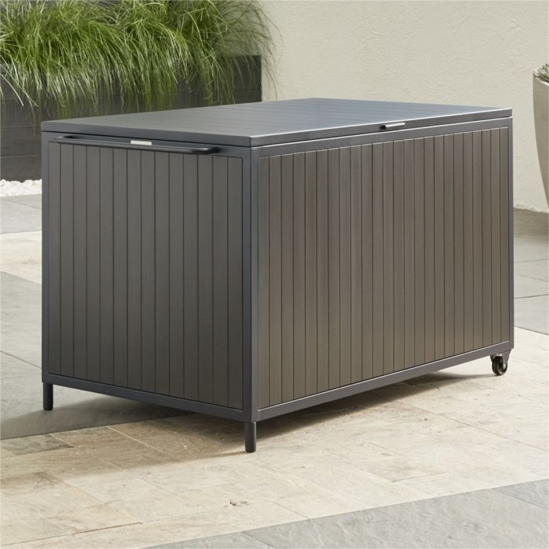 Shop Alfresco Ii Grey Storage Box The Alfresco Grey Outdoor Storage Box Features An Aluminum Frame Powdercoated I Patio Storage Grey Storage Patio Storage Box