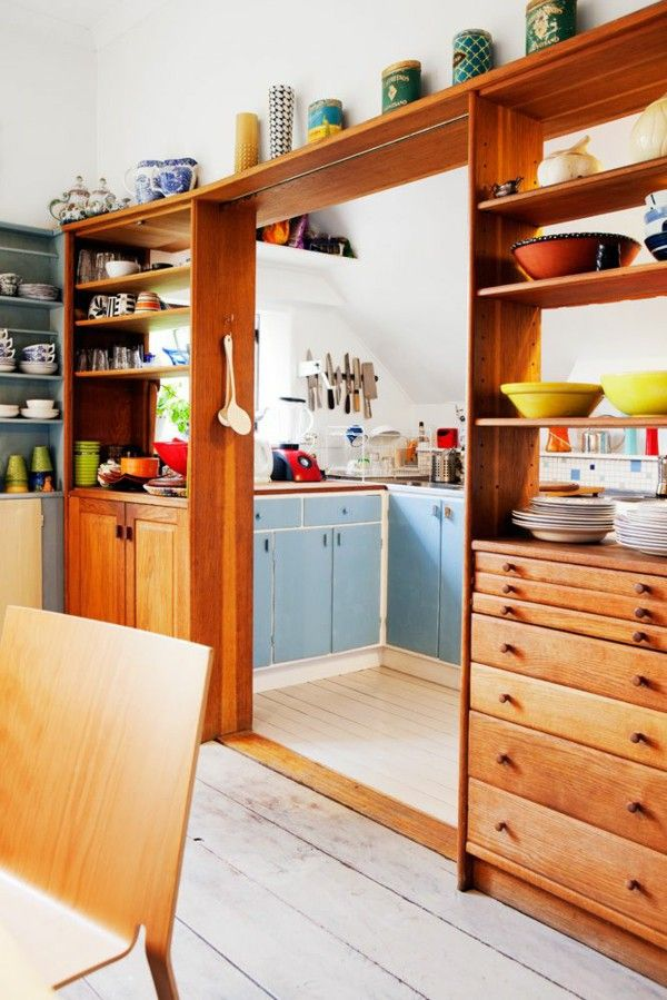 Partition wall wooden kitchen and dining room kitchin for Small kitchen wall storage solutions