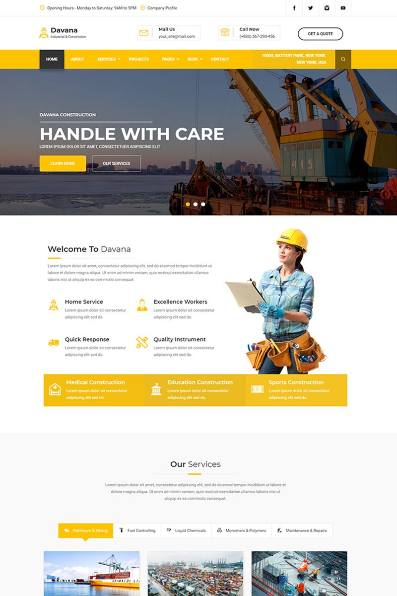Davana Responsive Industrial Business Html Website Template 67725 Website Design Layout Web Design Tips Web Layout Design