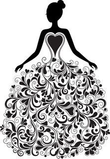 Quinceanera Dresses Drawings Vector silhouette of b...