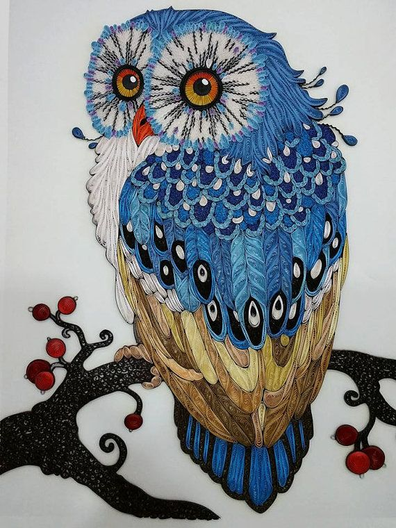 Handgemachte Owl Paper Quilling Kunst Von Giftablearts Auf
