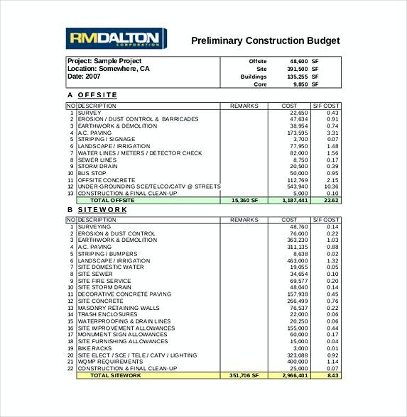 Construction Budget Spreadsheet 9 Construction Budget Template
