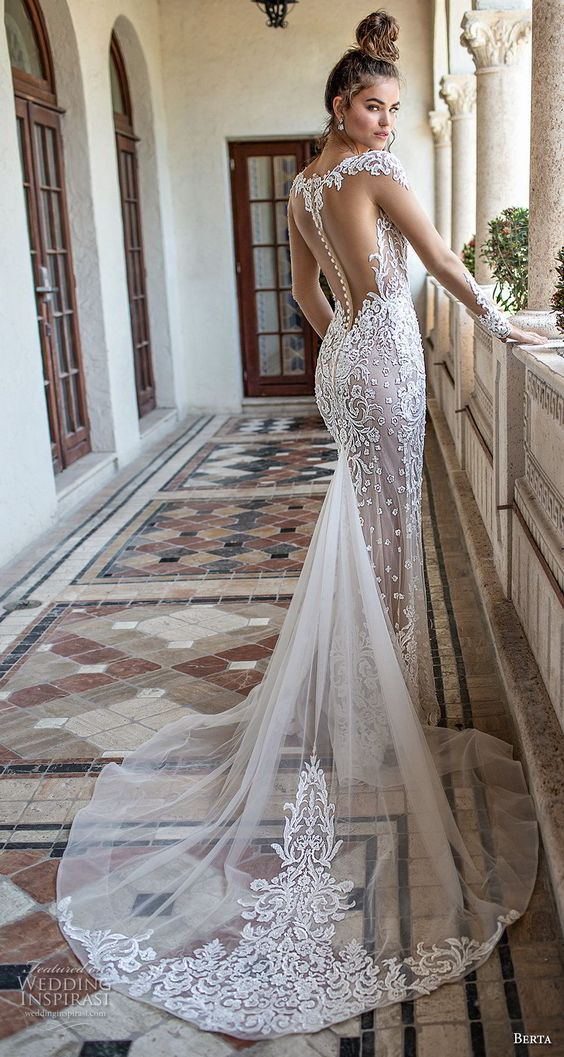 Berta Spring 2019 Bridal Long Sleeves Sweetheart Neckline Full Embellishment Ele Wedding Dress Necklines Mermaid Wedding Dress With Sleeves Sheer Wedding Dress