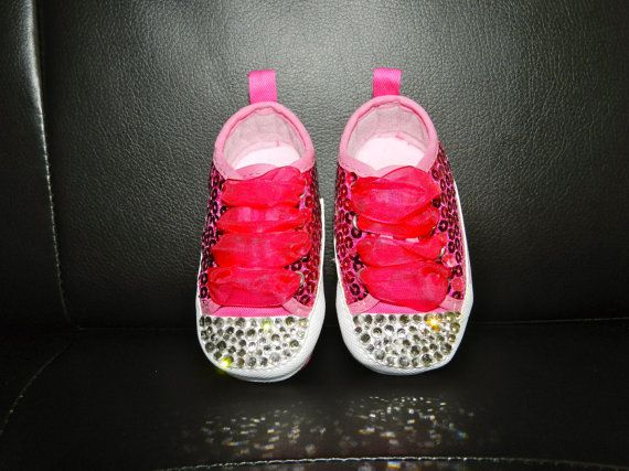 Hot pink sequin baby sneakers with high quality by babydivabling, $40.00