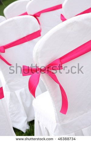 ribbon decoration on wedding chairs cover instead of big sash and