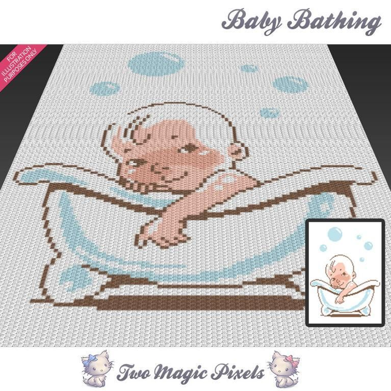 Baby Bathing (sc tss c2c cross stitch)   Manta, Ganchillo y Bebé