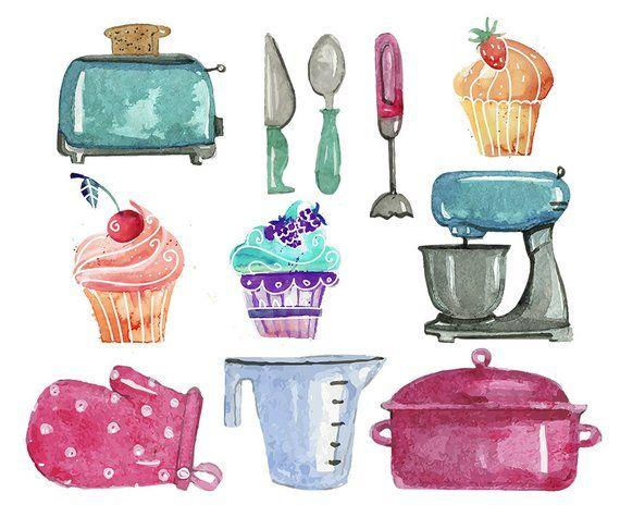 Baking Clipart Set Clip Art Set Of Baking Mixer Cupcakes