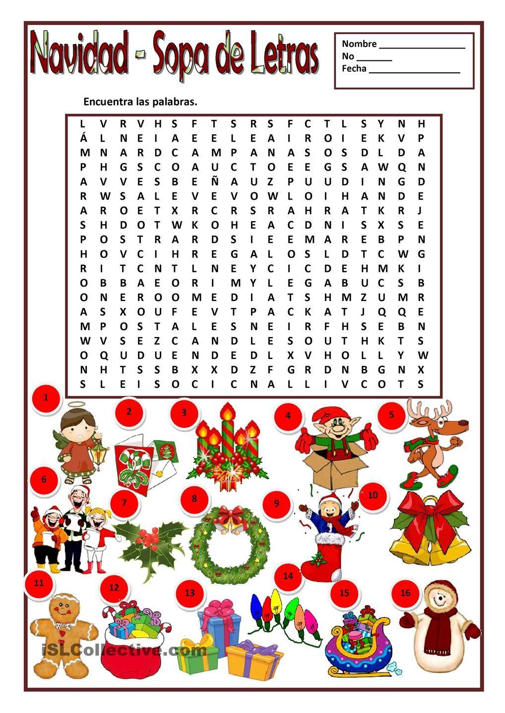 Sopa De Letras Gratis Navidad Juegos Navidenos Pinte