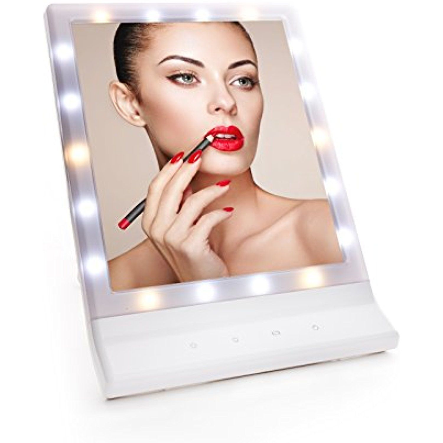 LED Lighted Makeup Mirror with Smart Touch Dimmer Foldable