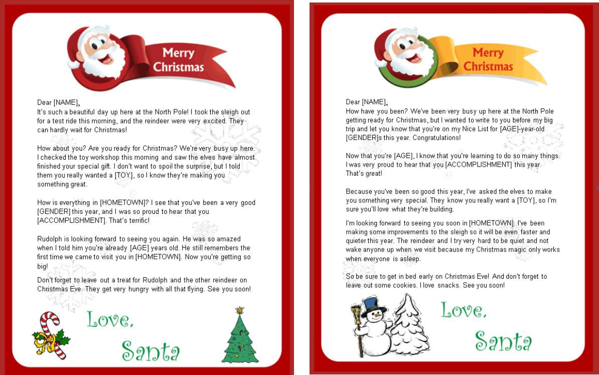 free printable santa letters for toddlers designs available from http freeletterfromsantaclaus net 16671