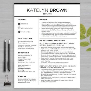 TEACHER RESUME Template For MS Word + Educator Resume Writing Guide