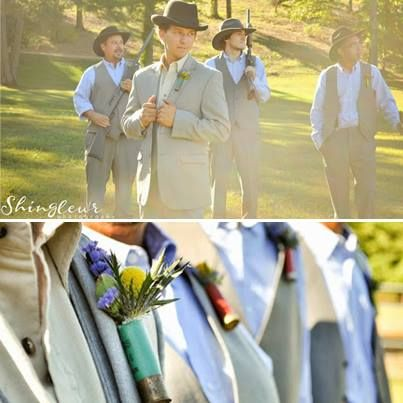 Love the shotgun shell boutonnieres! Flowers are from fiftyflowers.com. I've used them, they're fantastic. http://blog.fiftyflowers.com/a-bright-bohemian-barn-wedding-at-twin-oaks-ranch/