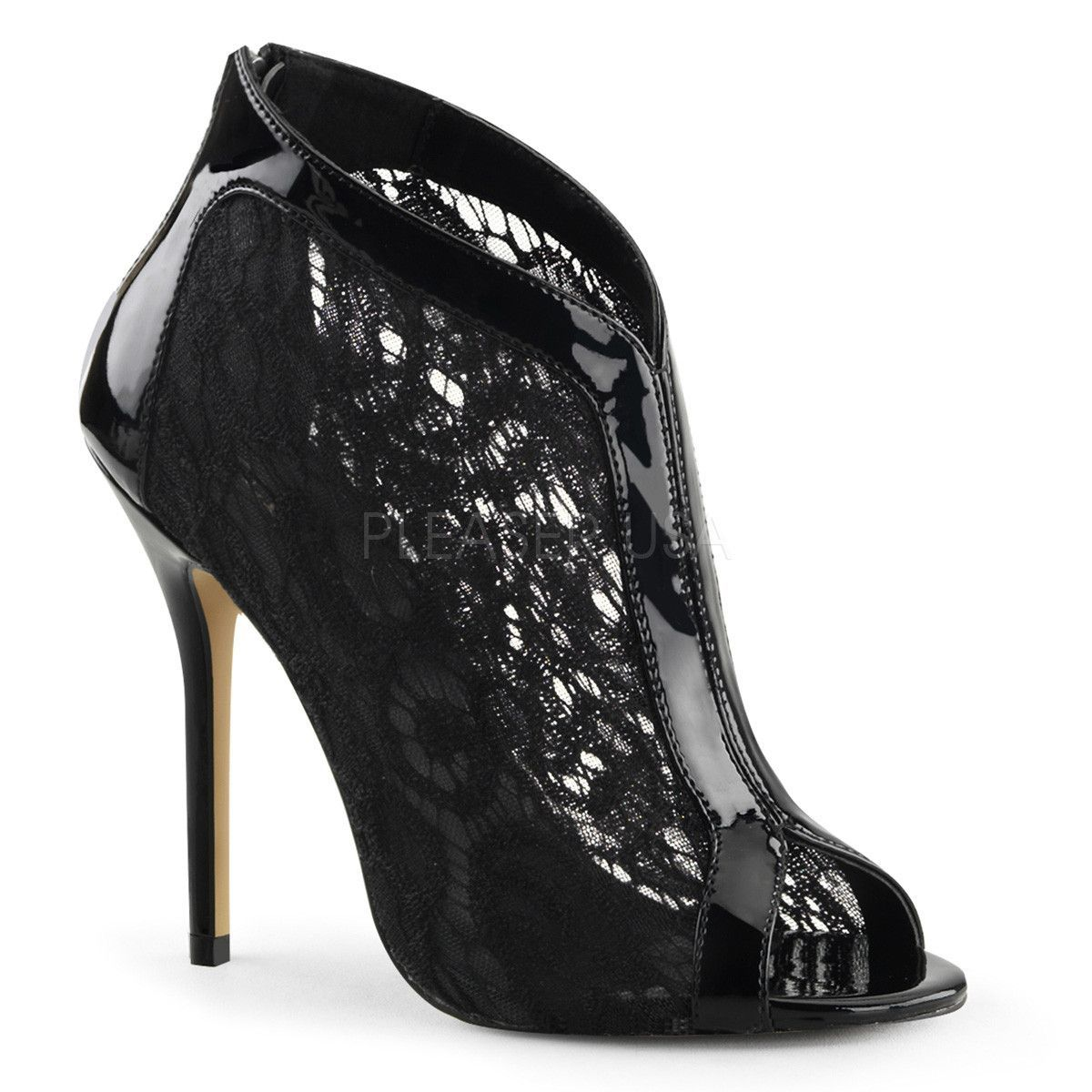 75224acdf71703 Black Fabulicious High Heel Pumps w  Lace Overlay