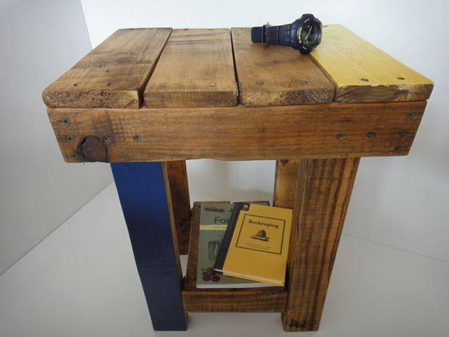 A Modern Pair Of Bedside Tables Made From Recycled Pallet Wood