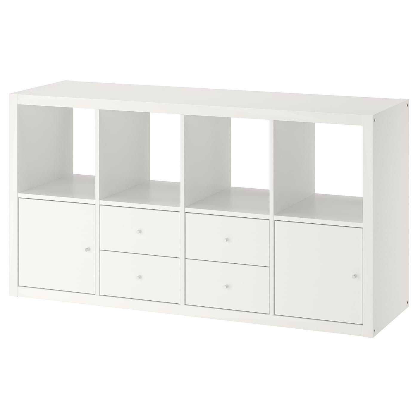 Kallax Estanteria Con Accesorios Blanco 77x147 Cm En 2020 Estante Kallax Estanteria Ikea Kallax Muebles Para Espacios Pequenos