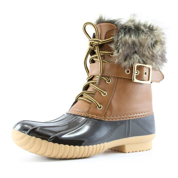 2798777dcf DailyShoes Women's Snow Booties Lace Up Ankle Buckle Duck Padded Mud ...