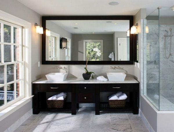 Salle de bain noir blanc miroir blanc gris | salle de bain ...