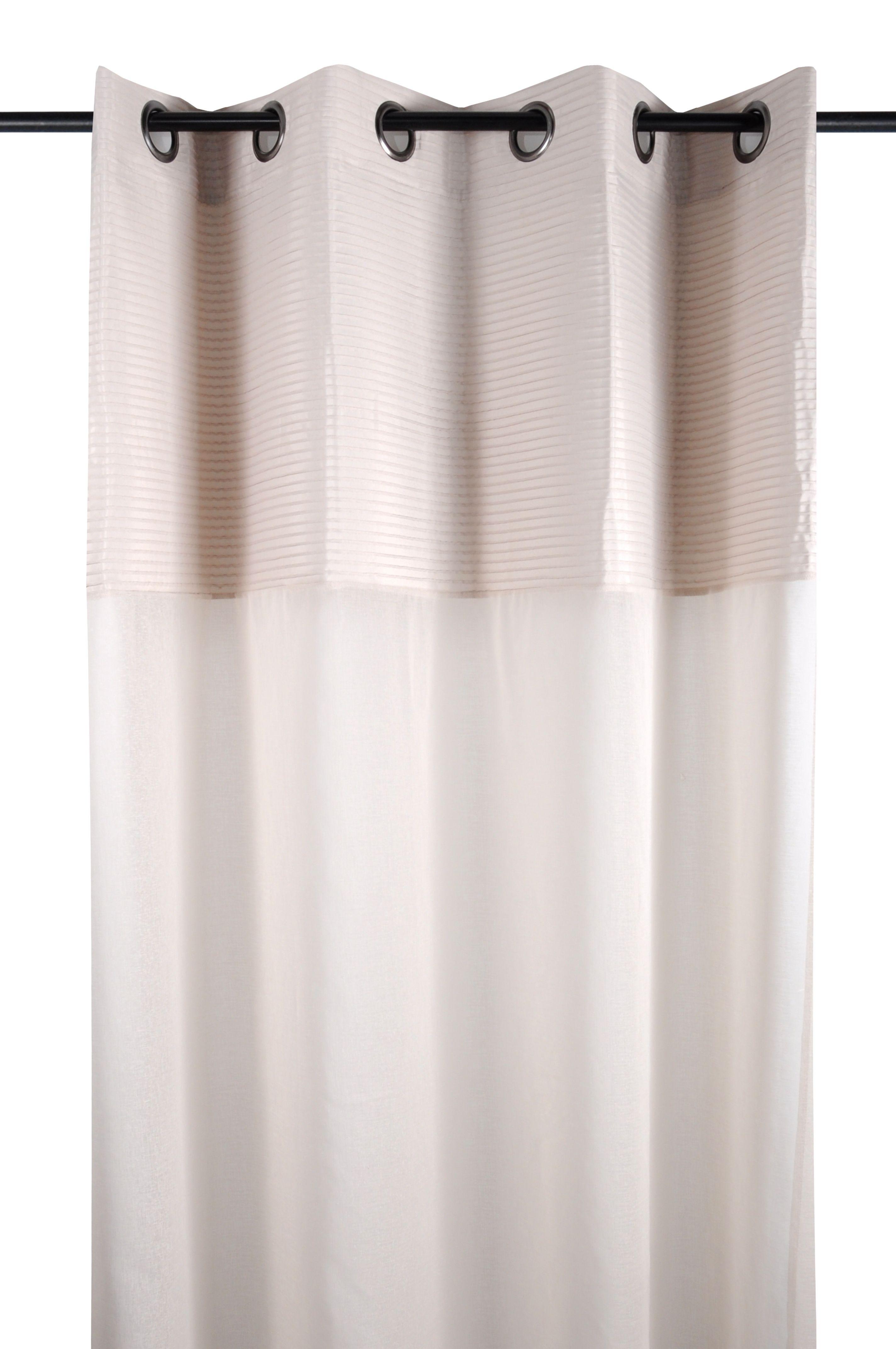 f365f6909ce1a8 Rideau voilage couleur lin rayures en relief 140x260cm à œillets SOCHIC -  Infos et Dimensions Composition