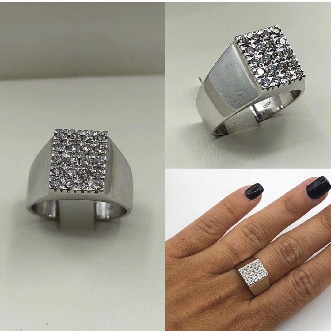 vendita scontata sporco dettagli per Vendo anello a sigillo in oro bianco 18kt con con 20 diamanti ...