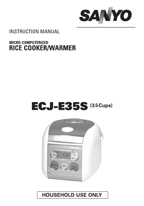 Sanyo Micro-Computerized Rice Cooker/Warmer Instruction Manual ...