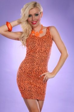 neon orange leopard cocktail minidress