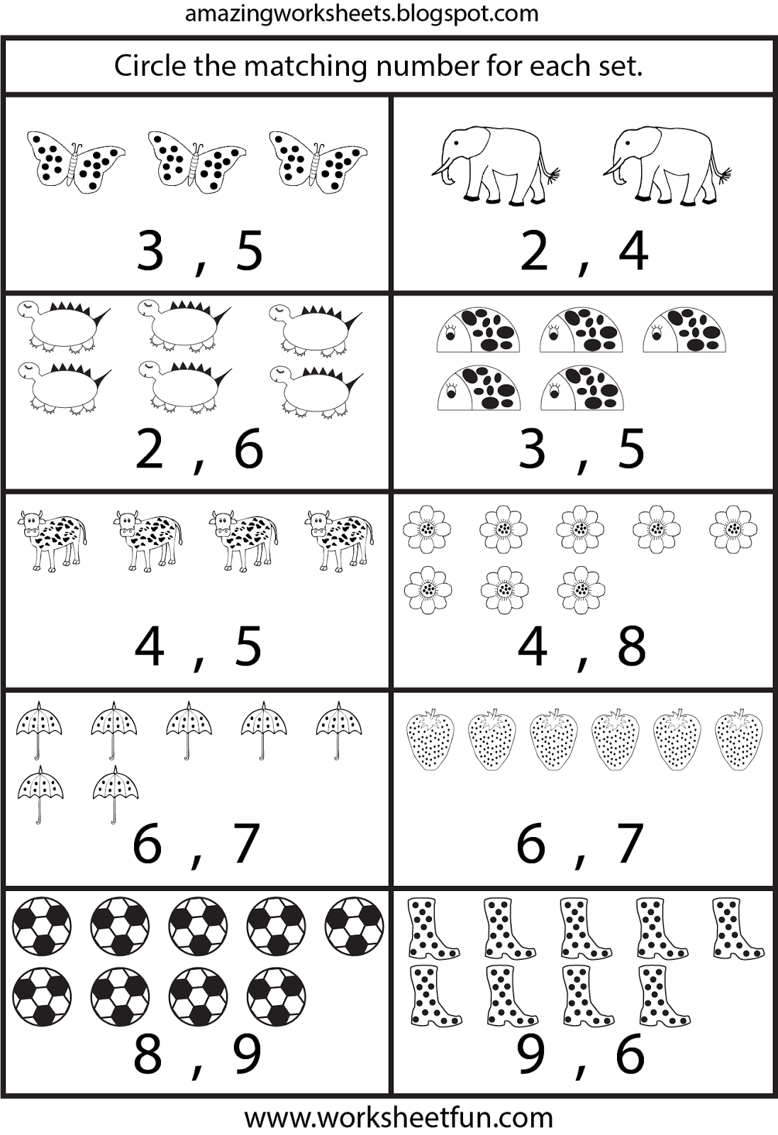 Counting worksheets for Kindergarten … | Learning…