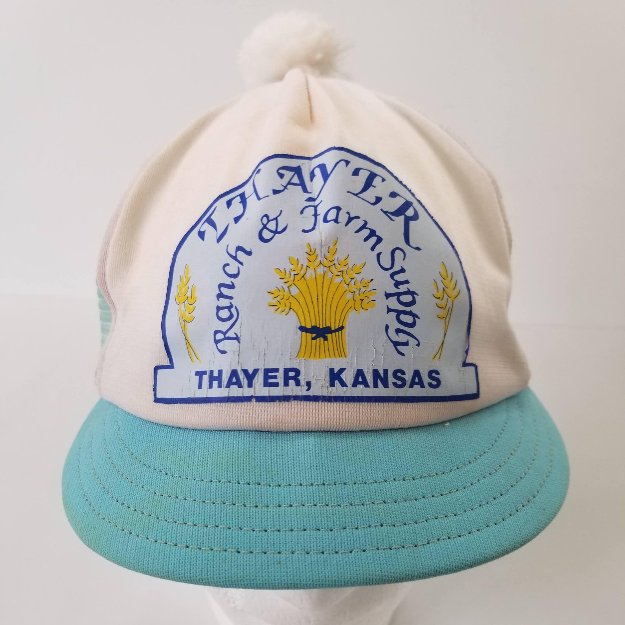 Vintage Mesh Trucker Snapback Pom Hat Short Brim Thayer Ranch Farm Supply  Kansas by TraSheeWomen on Etsy  vintage  truckerhat  mesh  pompom  thayer  ... 227ae079730