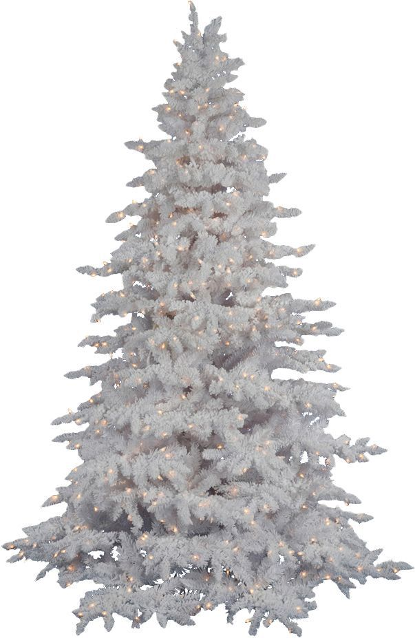 Flocked White Spruce 6.5' Artificial Christmas Tree with 450 LED ...