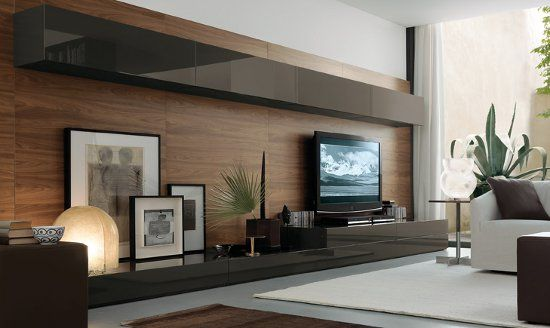 contemporary cabinets entertainment center | Innovative open wall units system for your contemporary living room ...