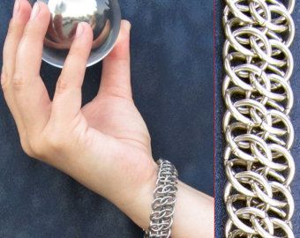 Bracelet  Steel Vipera Berus Basketweave  by SteamPunkGarage