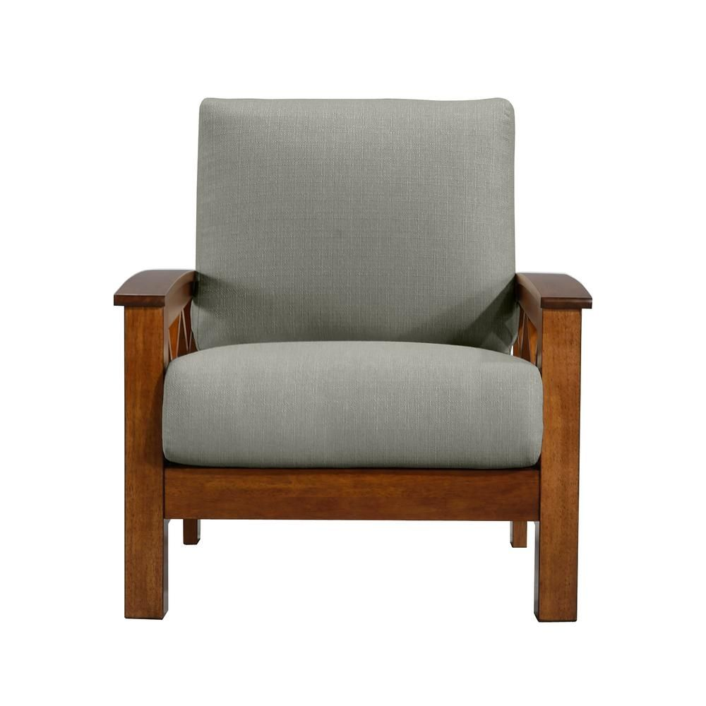Handy Living Virginia X Design Arm Chair With Exposed Cherry Wood Frame In Dove Gray Linen 340c Lin13 178c The Home Depot In 2021 Handy Living Armchair Design Armchair