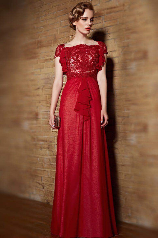 Dressesmall modern red bateau a line chiffon ruffles prom dress with