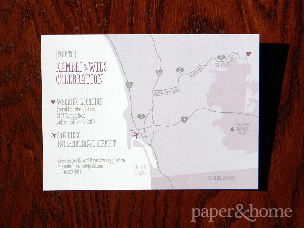 letterpress wedding invites london%0A Purple and Gray  Cute and Modern HandDrawn Map  Wedding Invitations San  Diego
