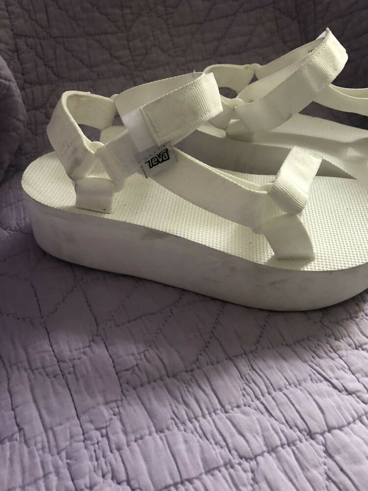 ebe1332f77be Teva Platform Sandals All White Size 8  fashion  clothing  shoes   accessories