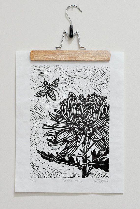 Flower and Bee linocut