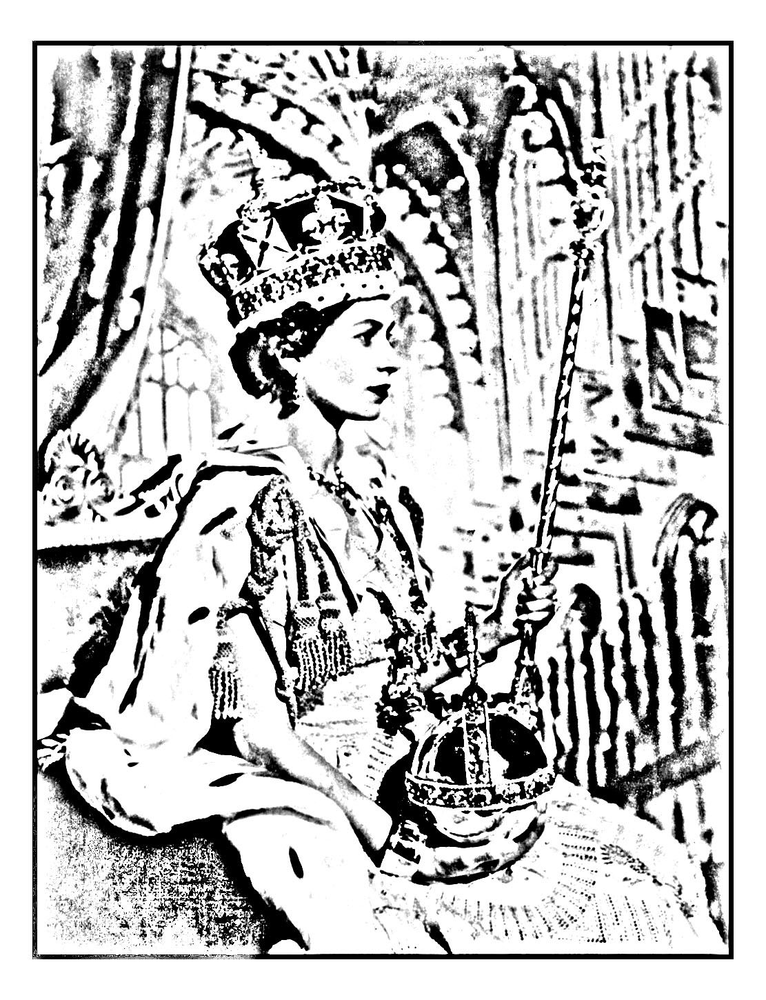 Coloring page made from an official picture of Elisabeth II, taken ...