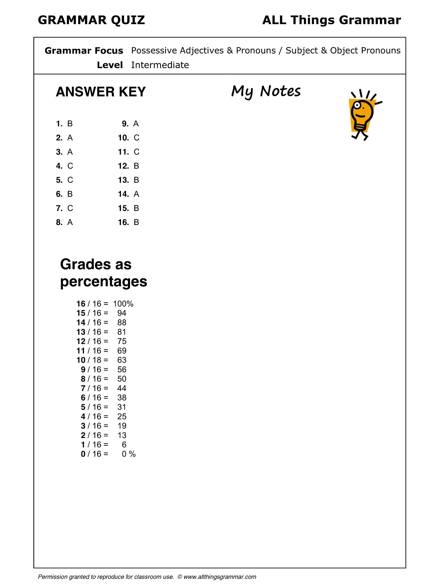 Possessive Adjectives Amp Pronouns Subject Amp Object