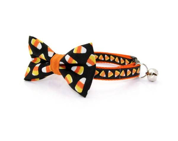 """Halloween Bow Tie Cat Collar Set – """"Trick or Treat"""" – Cat Collar + Candy Corn Bow Tie/Multiple Sizes"""