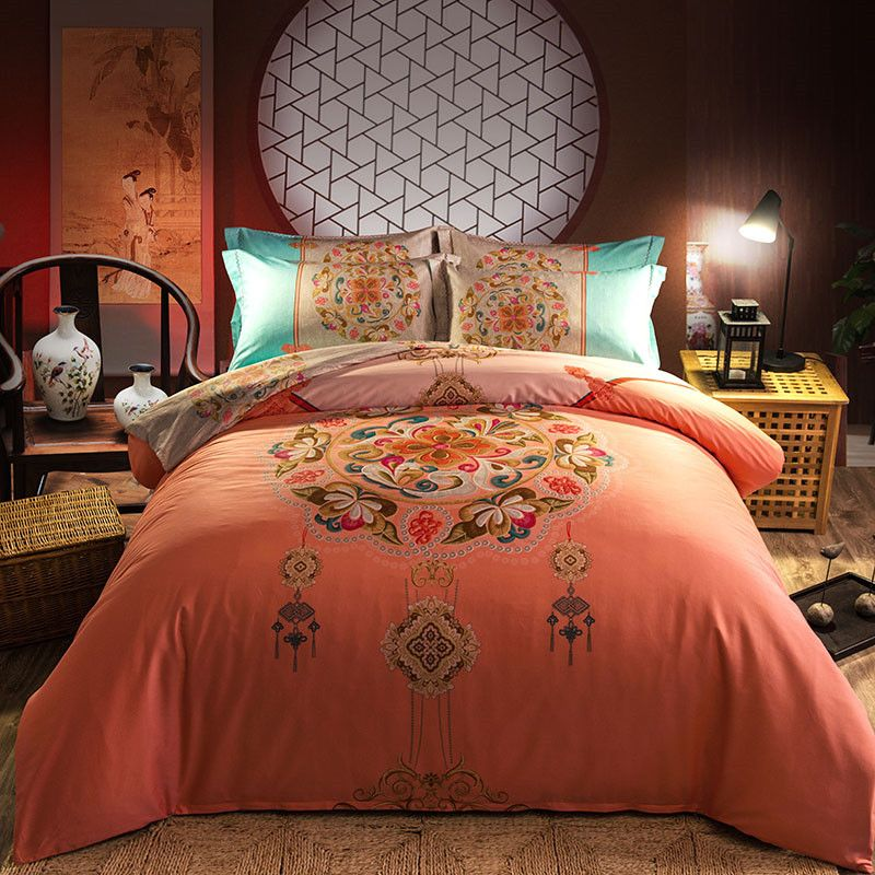 20 Designs Cotton Fashion Chinese Style Bedding Set Duvet Cover Bed Sheet Pillowcases Bed Linen Bedclothes King Queen Full Bedding Sets Bedding Sets Bedclothes
