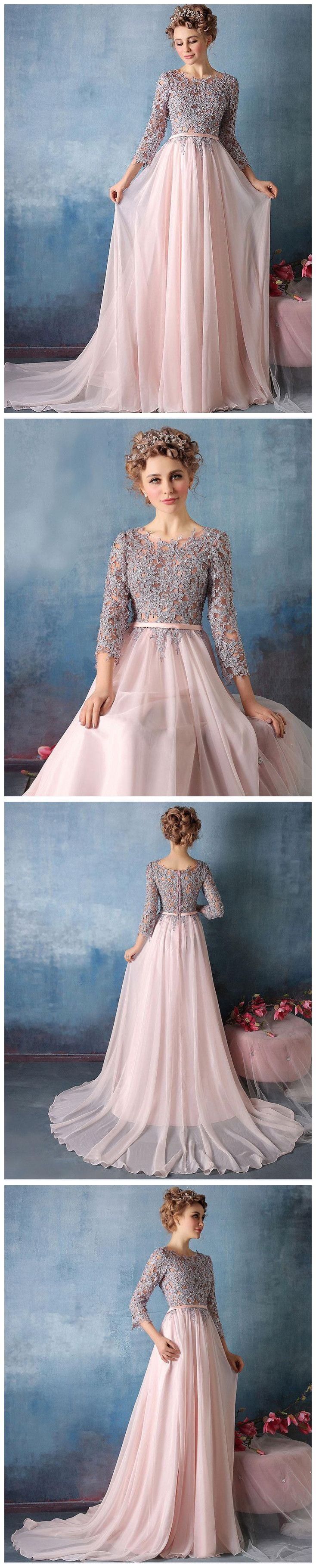 Chic aline scoop pink sleeve chiffon applique long prom dress