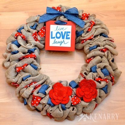 Photo of Red, White and Blue Burlap Wreath