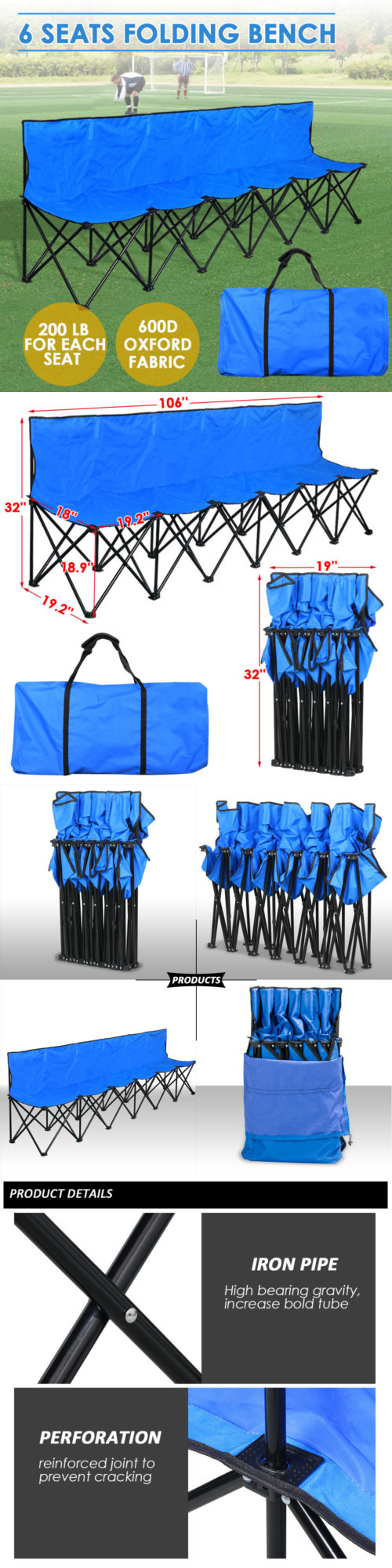 Folding Team Bench Part - 47: Camping Furniture 16038: 6 Seats Portable Folding Team Bench Sports Camping  Backrest No Need To