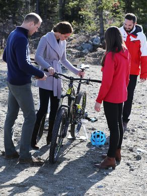 Will and Kate check out a mountain bike on Montana